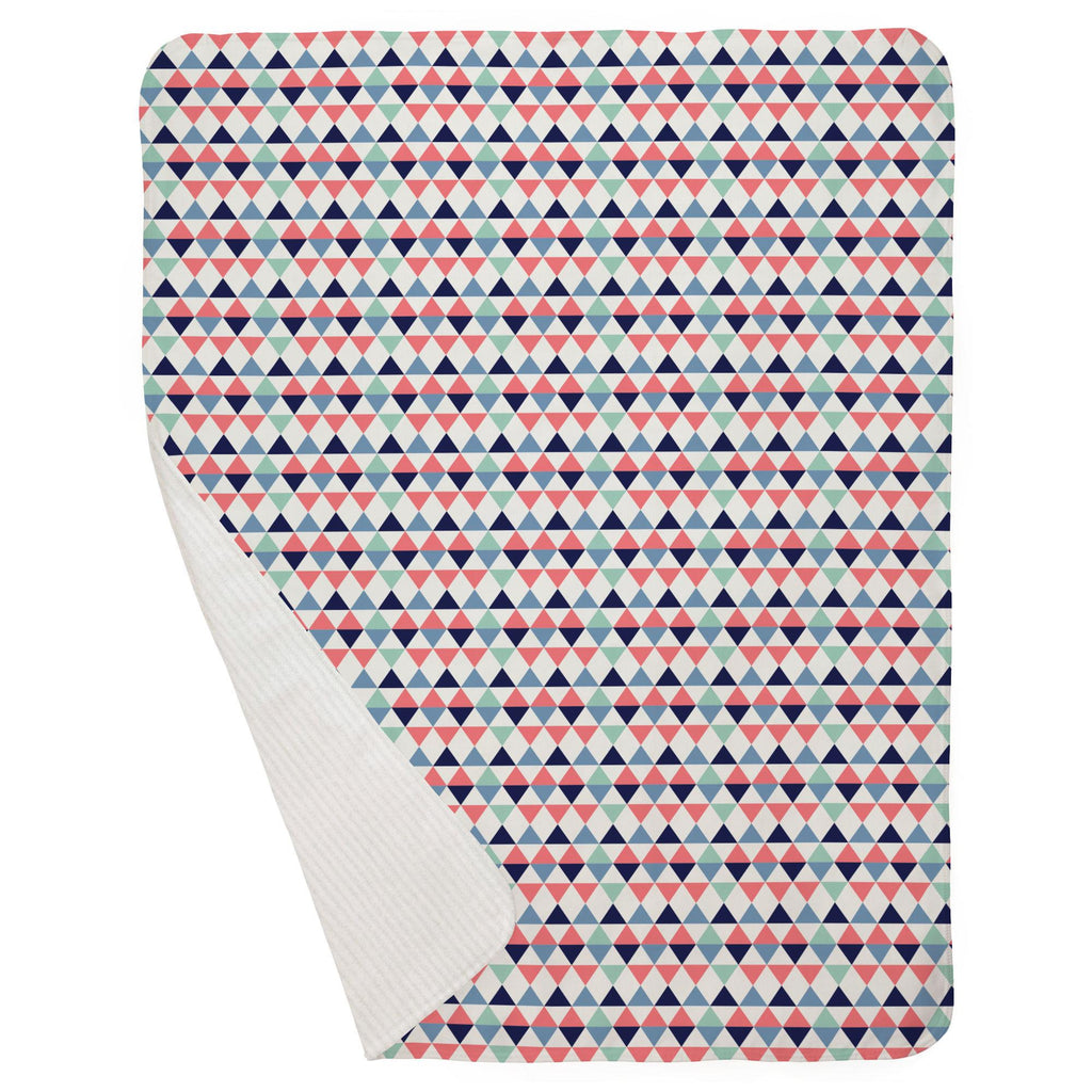 Product image for Coral and Mint Triangles Baby Blanket