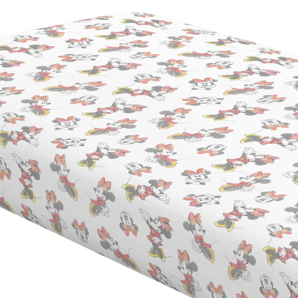 Product image for Disney© Coral Watercolor Minnie Mouse Crib Sheet