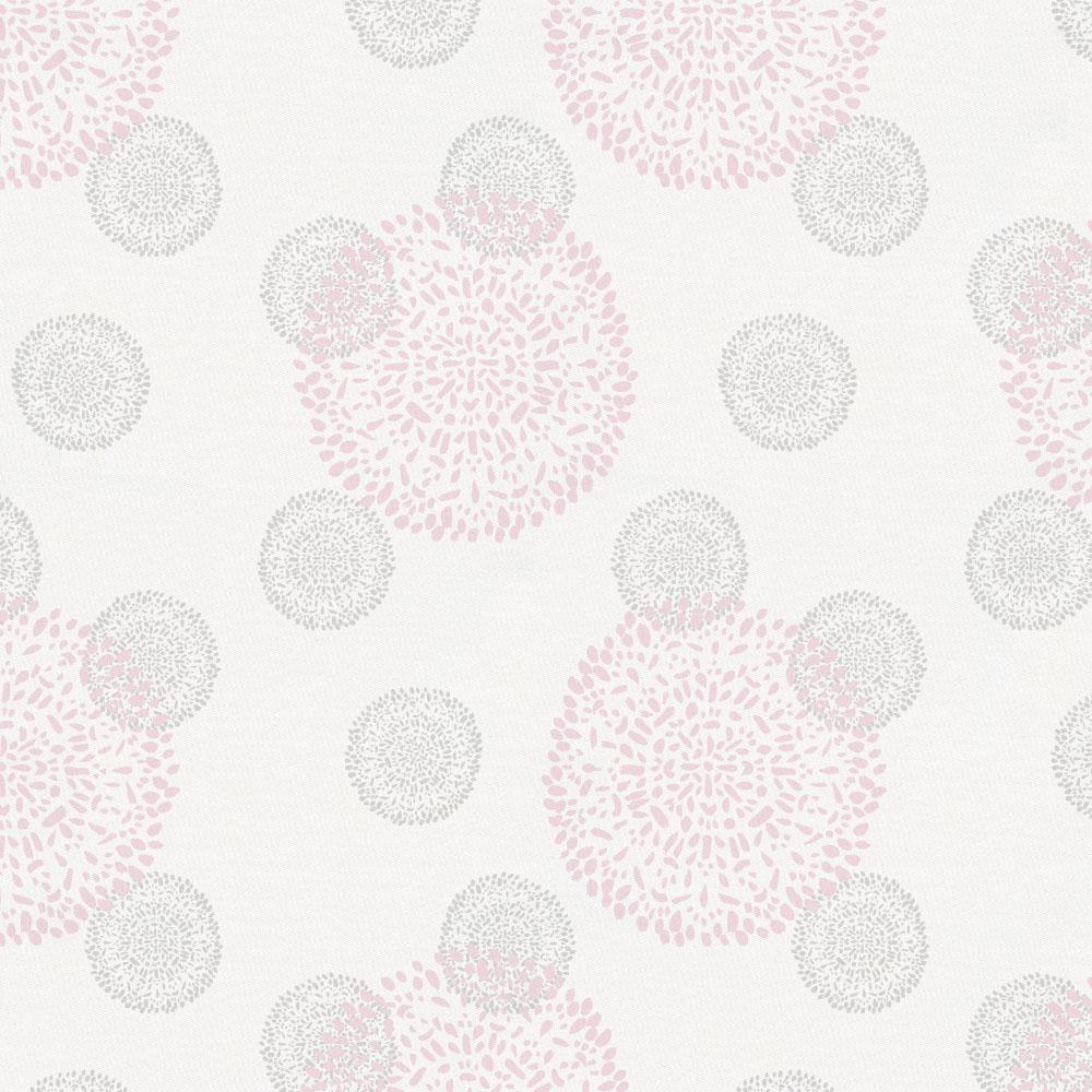Product image for Pink and Silver Gray Dandelion Crib Skirt Gathered
