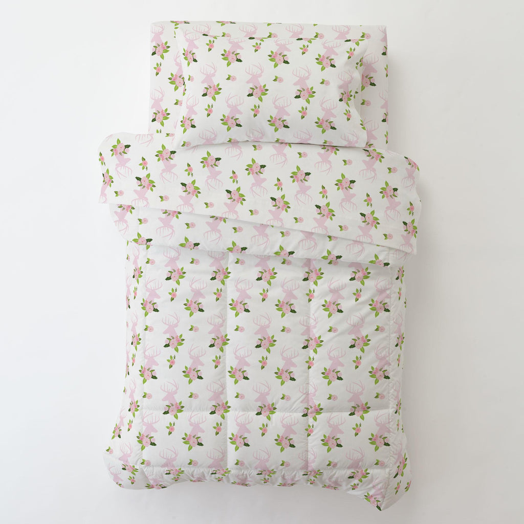 Product image for Pink Floral Deer Head Toddler Sheet Bottom Fitted