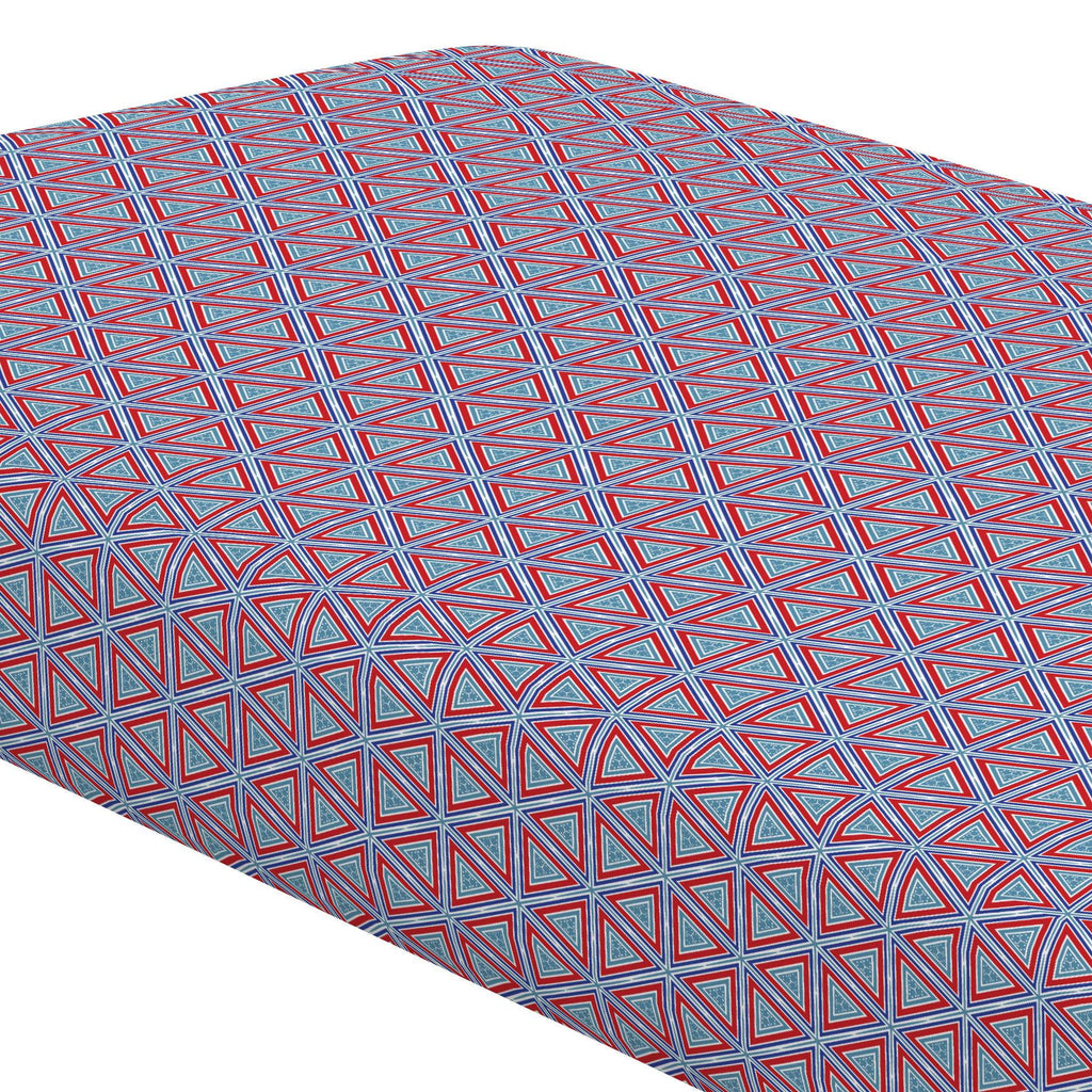 Product image for Red Nautical Triangles Crib Sheet