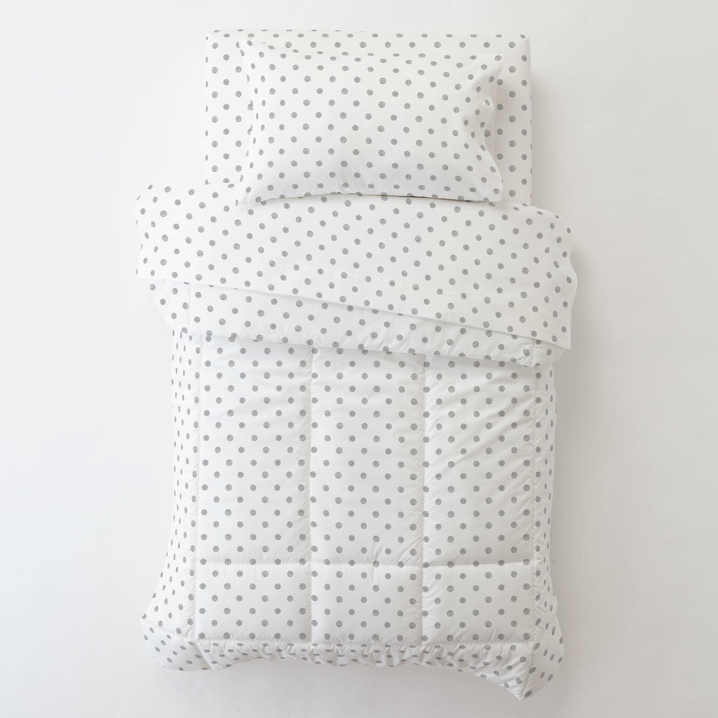 Product image for Cloud Gray Ditsy Dot Toddler Sheet Bottom Fitted
