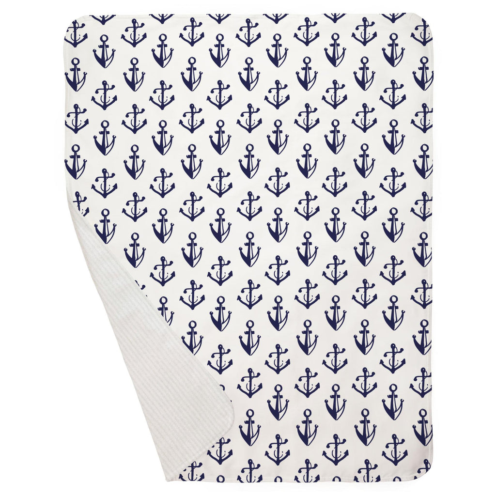 Product image for Windsor Navy Anchors Baby Blanket