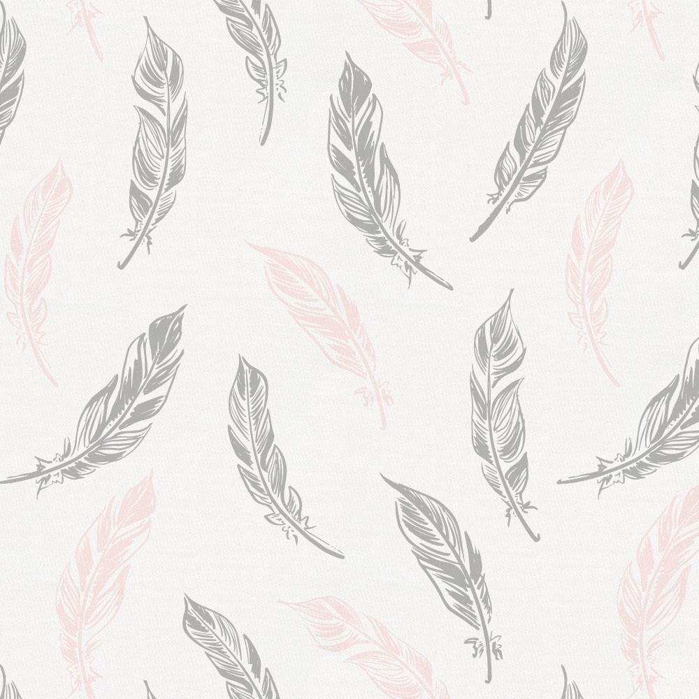 Product image for Blush Pink and Silver Gray Hand Drawn Feathers Crib Skirt Gathered
