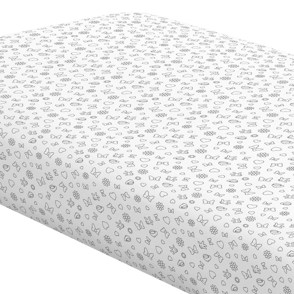 Product image for Disney© Onyx Minnie Icons Crib Sheet