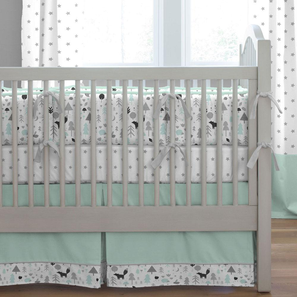 Product image for Icy Mint and Silver Gray Baby Woodland Crib Comforter with Piping
