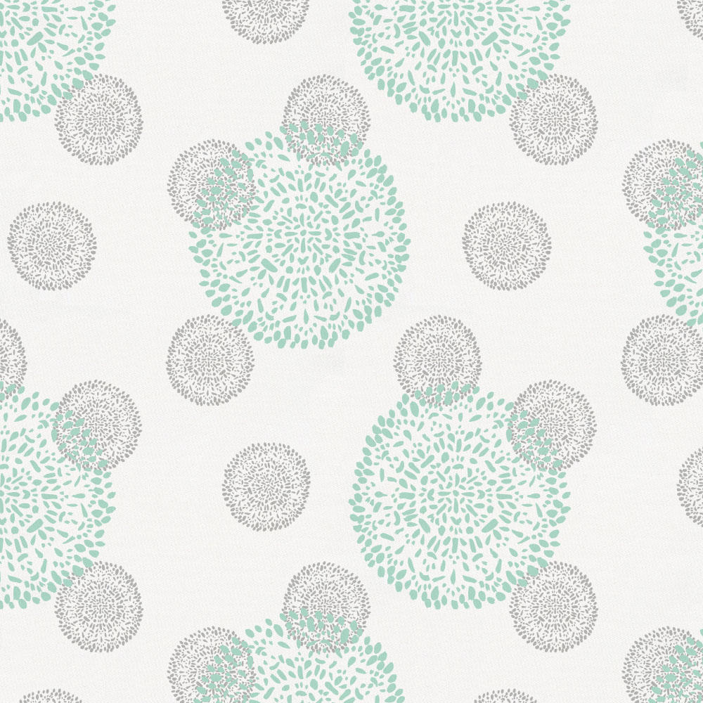 Product image for Mint and Silver Gray Dandelion Crib Skirt Gathered