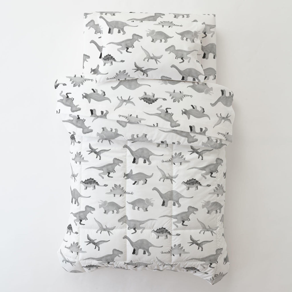Product image for Gray Watercolor Dinosaurs Toddler Pillow Case