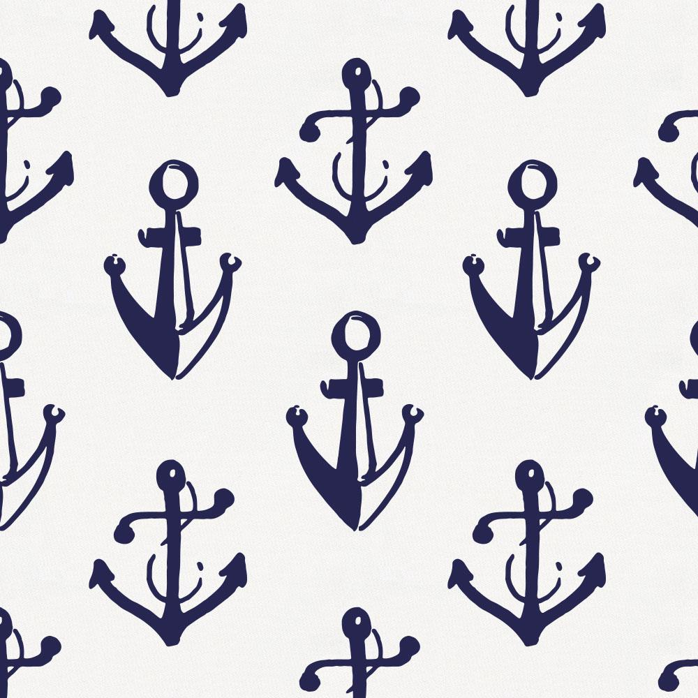 Product image for Windsor Navy Anchors Crib Skirt Gathered