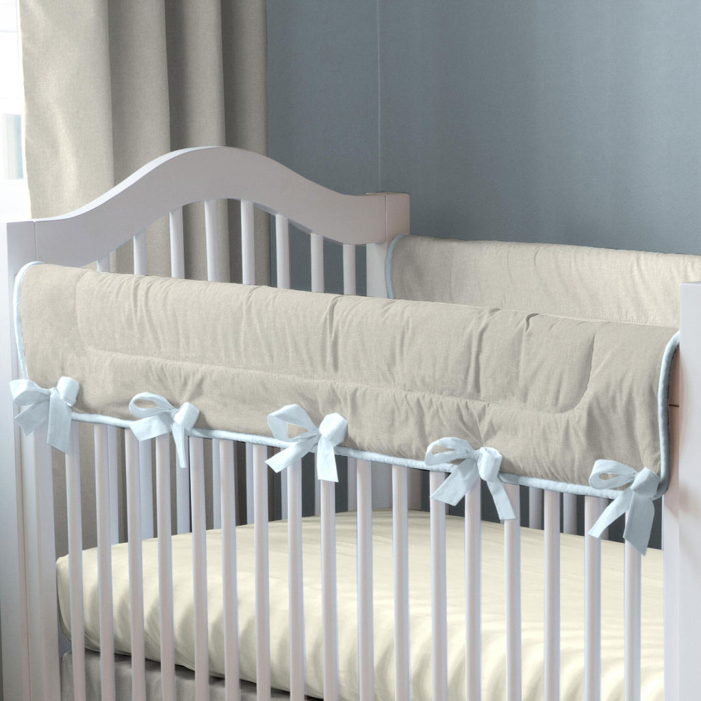 Product image for Light Blue and Flax Linen Crib Rail Cover