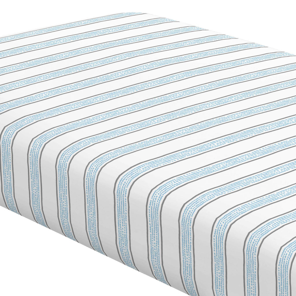 Product image for Gray and Lake Blue Beach Stripe Crib Sheet