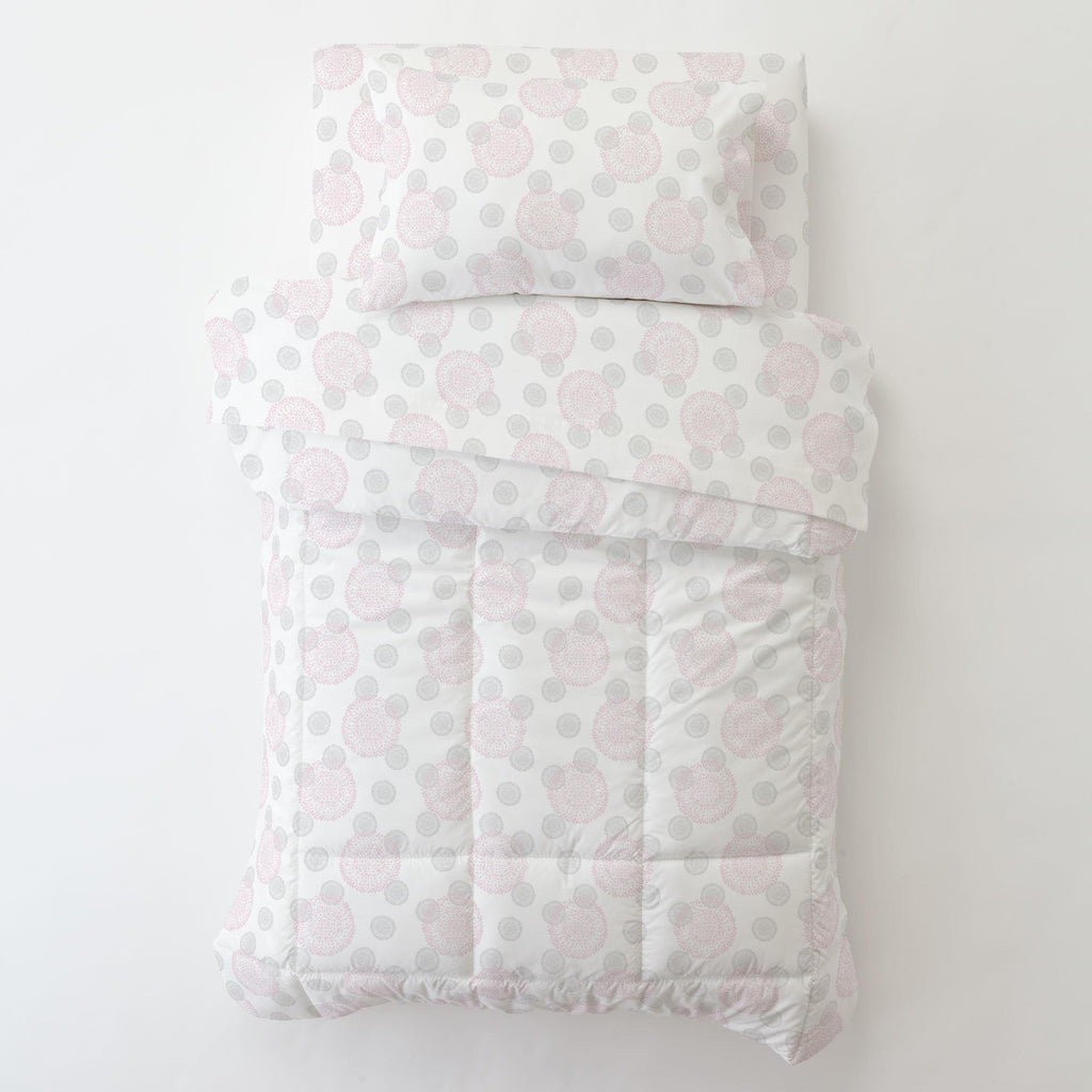 Product image for Pink and Silver Gray Dandelion Toddler Sheet Bottom Fitted