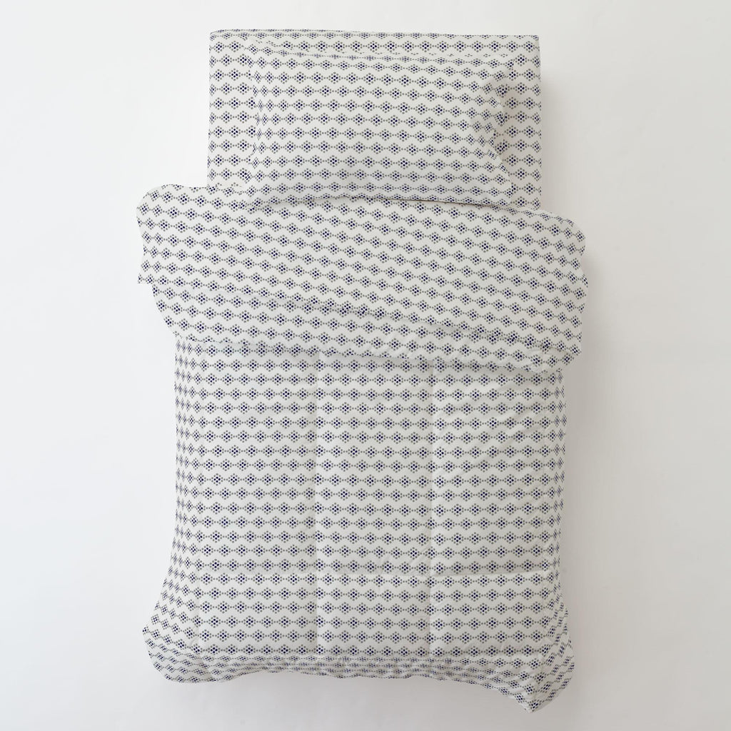 Product image for Gray and Navy Diamond Dot Toddler Pillow Case