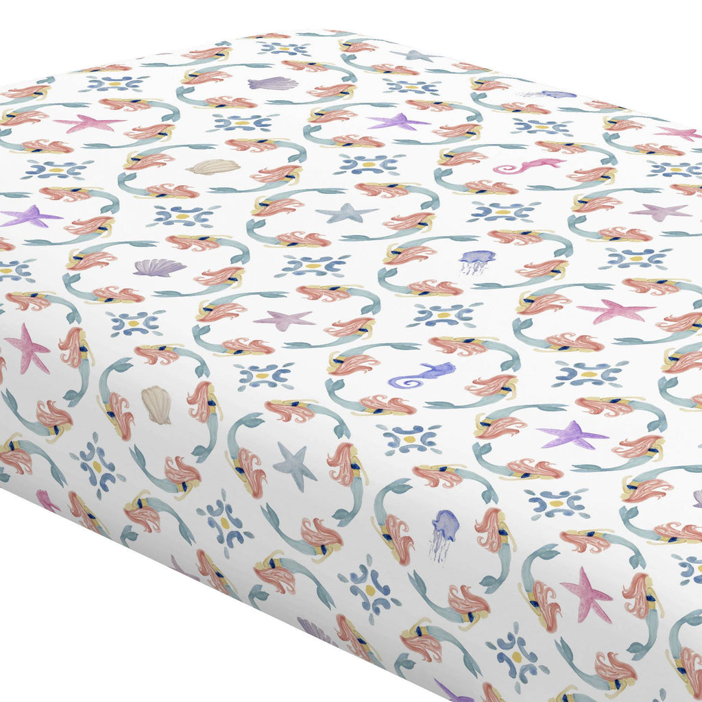 Product image for Mermaid Medallion Crib Sheet