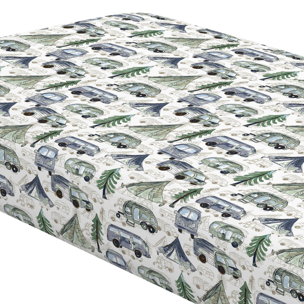 Product image for Navy and Seafoam Gone Camping Crib Sheet