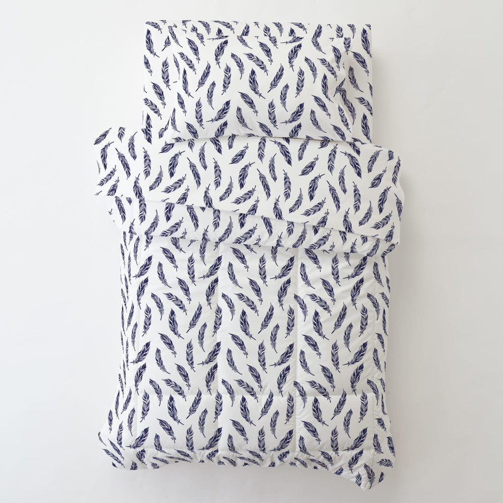 Product image for Navy Hand Drawn Feathers Toddler Sheet Bottom Fitted