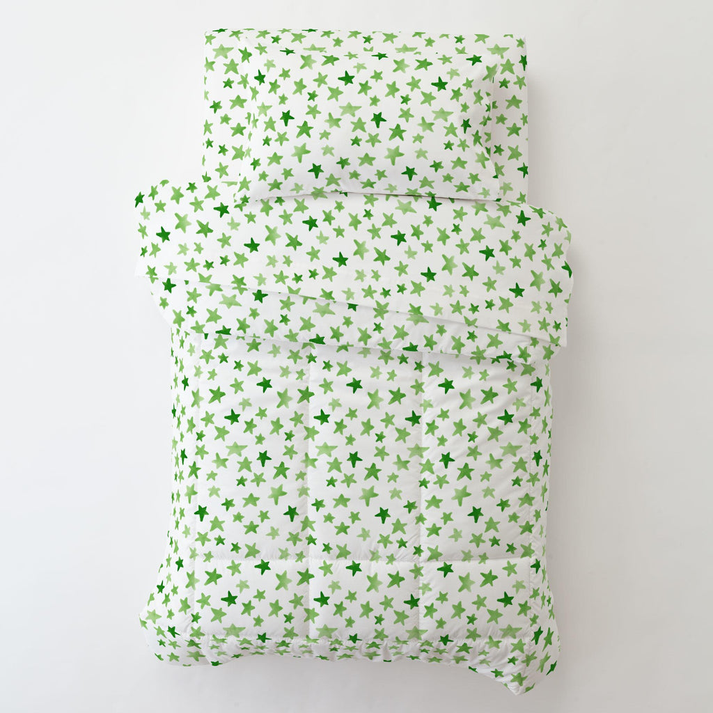 Product image for Green Watercolor Stars Toddler Pillow Case