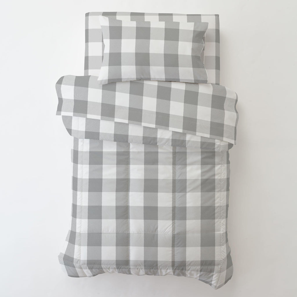 Product image for Gray Buffalo Check Toddler Sheet Top Flat