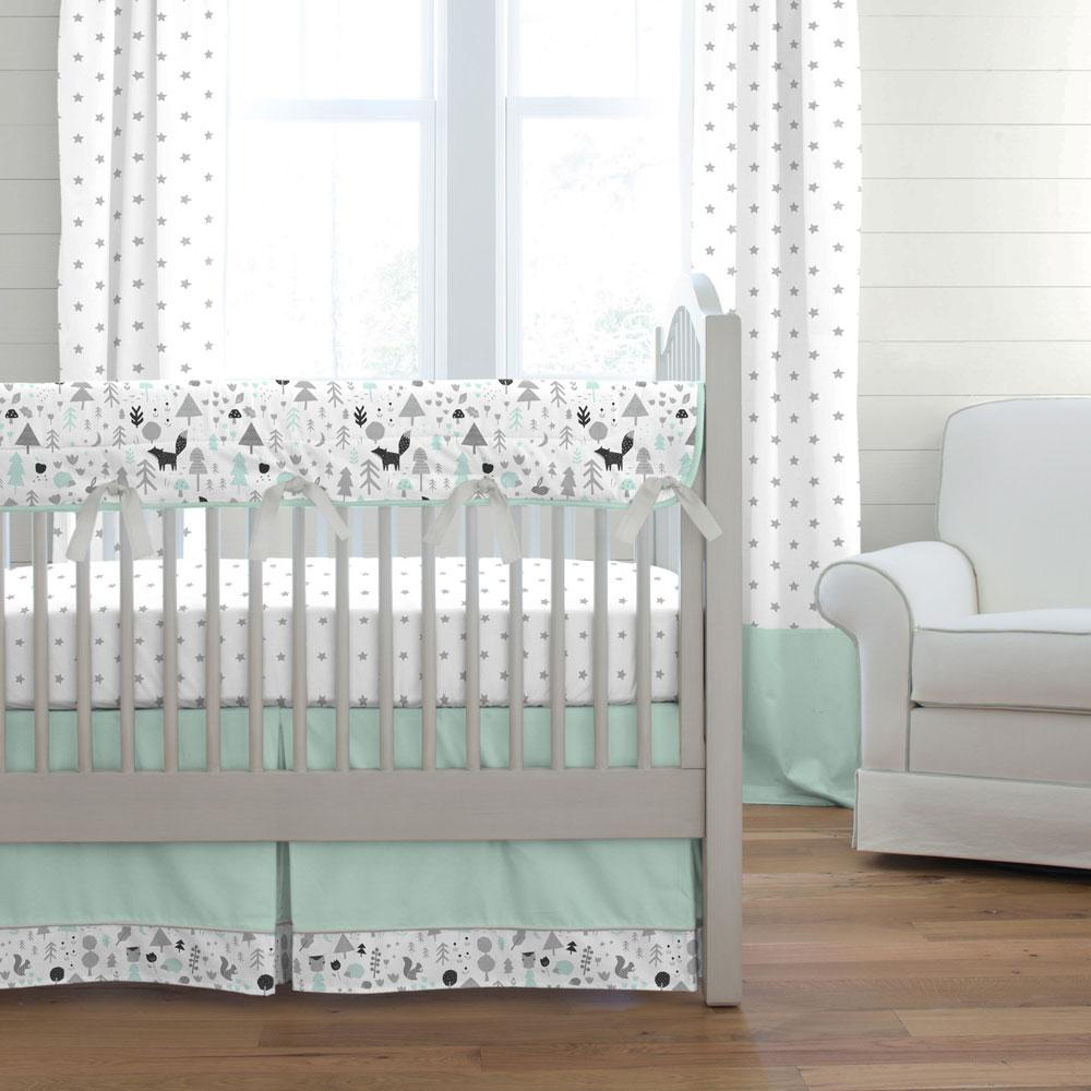Product image for Icy Mint and Silver Gray Baby Woodland Crib Rail Cover