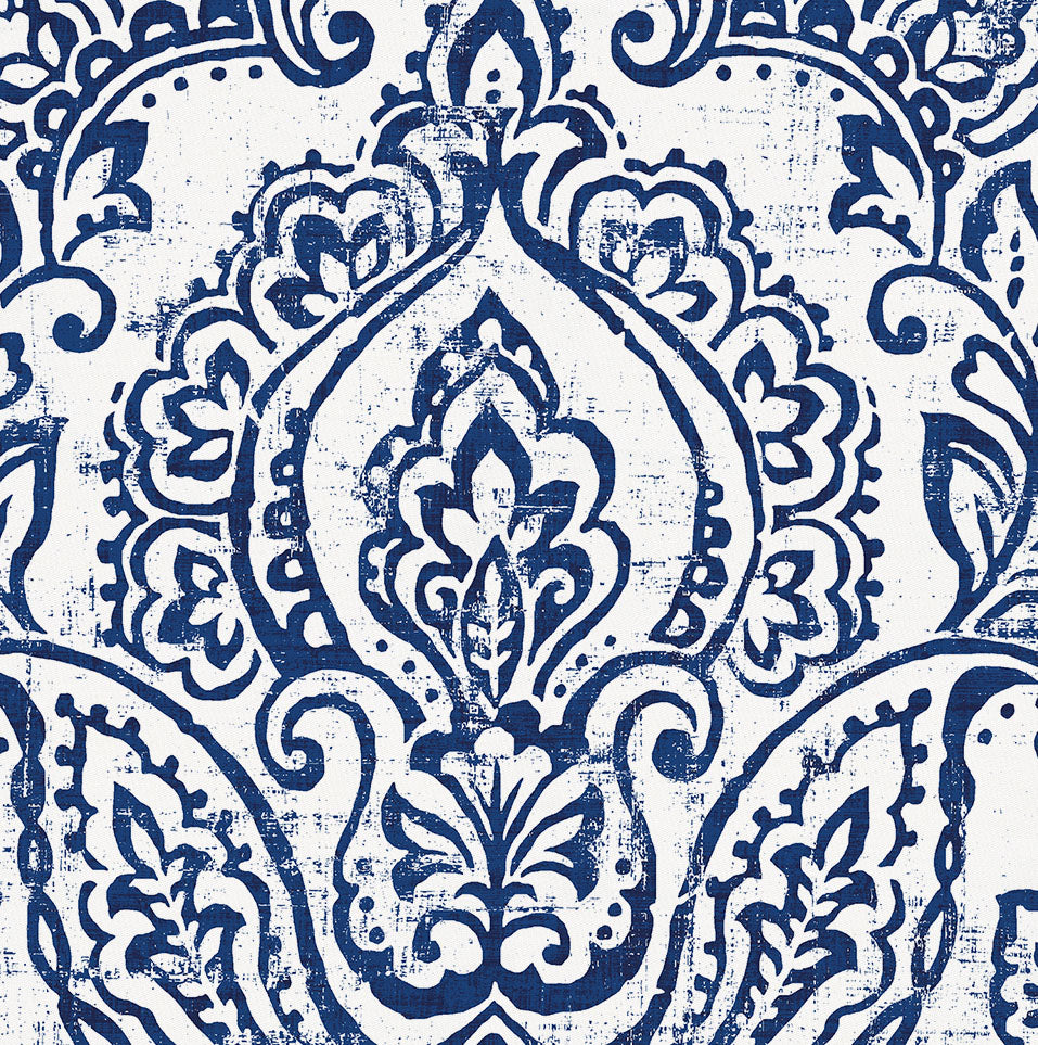 Product image for White and Navy Vintage Damask Crib Skirt Single-Pleat