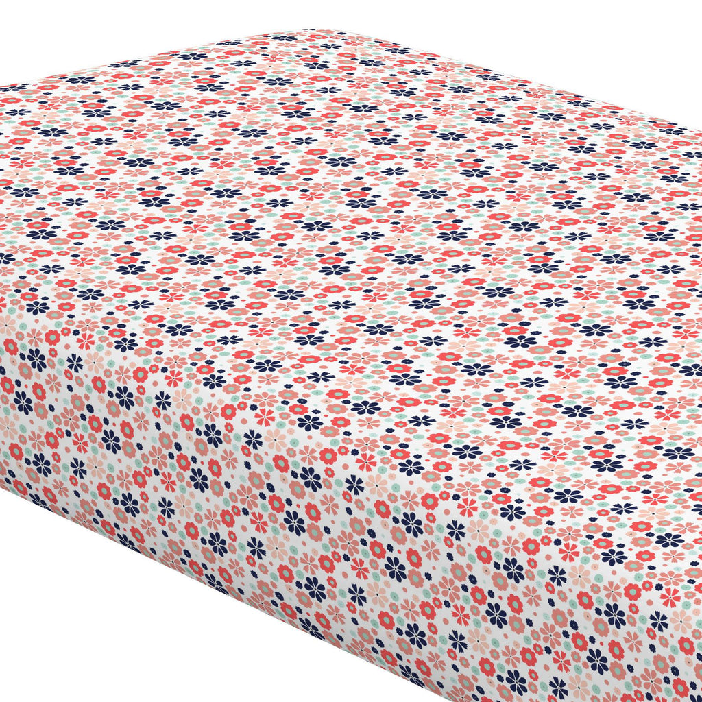 Product image for Coral Spring Flowers Crib Sheet