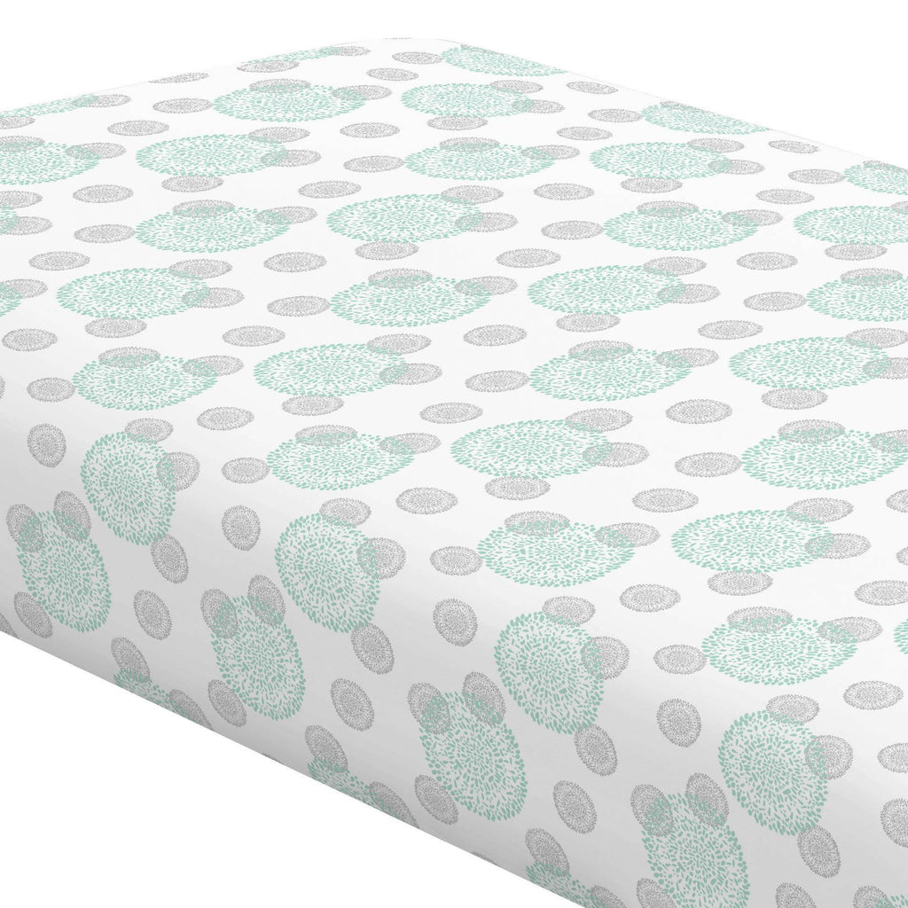 Product image for Mint and Silver Gray Dandelion Crib Sheet