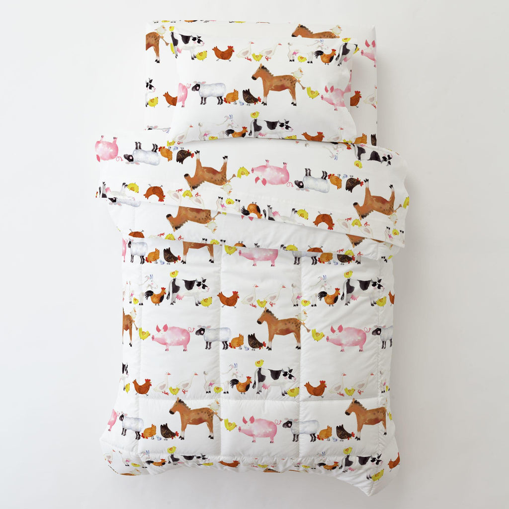 Product image for Painted Farm Animals Toddler Sheet Top Flat