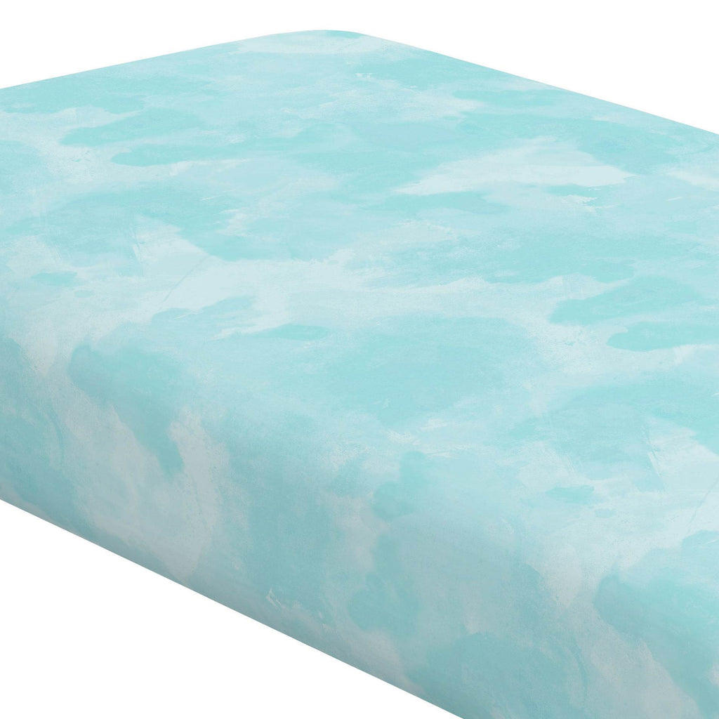 Product image for Seafoam Aqua Watercolor Crib Sheet