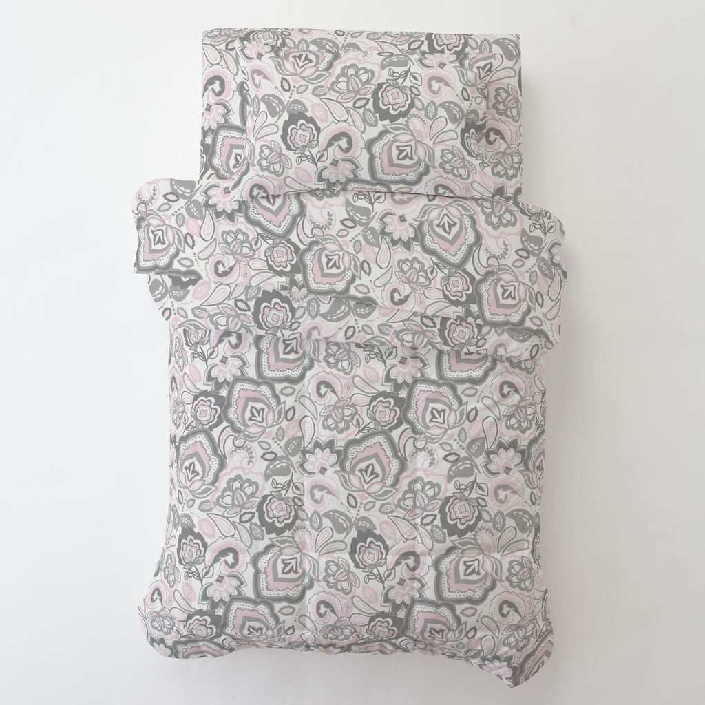 Product image for Pink and Gray Jacobean Toddler Sheet Bottom Fitted