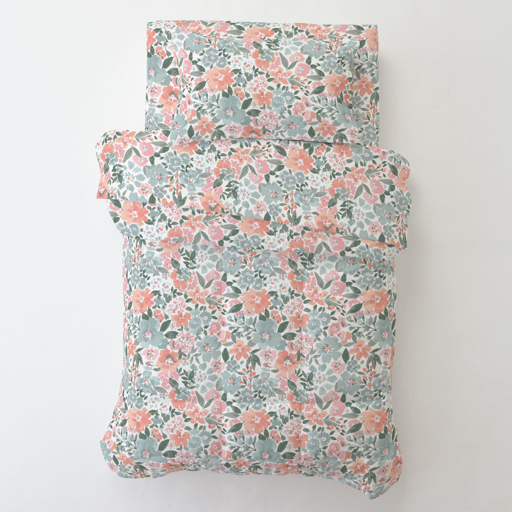 Product image for Peach Prairie Floral Toddler Sheet Bottom Fitted