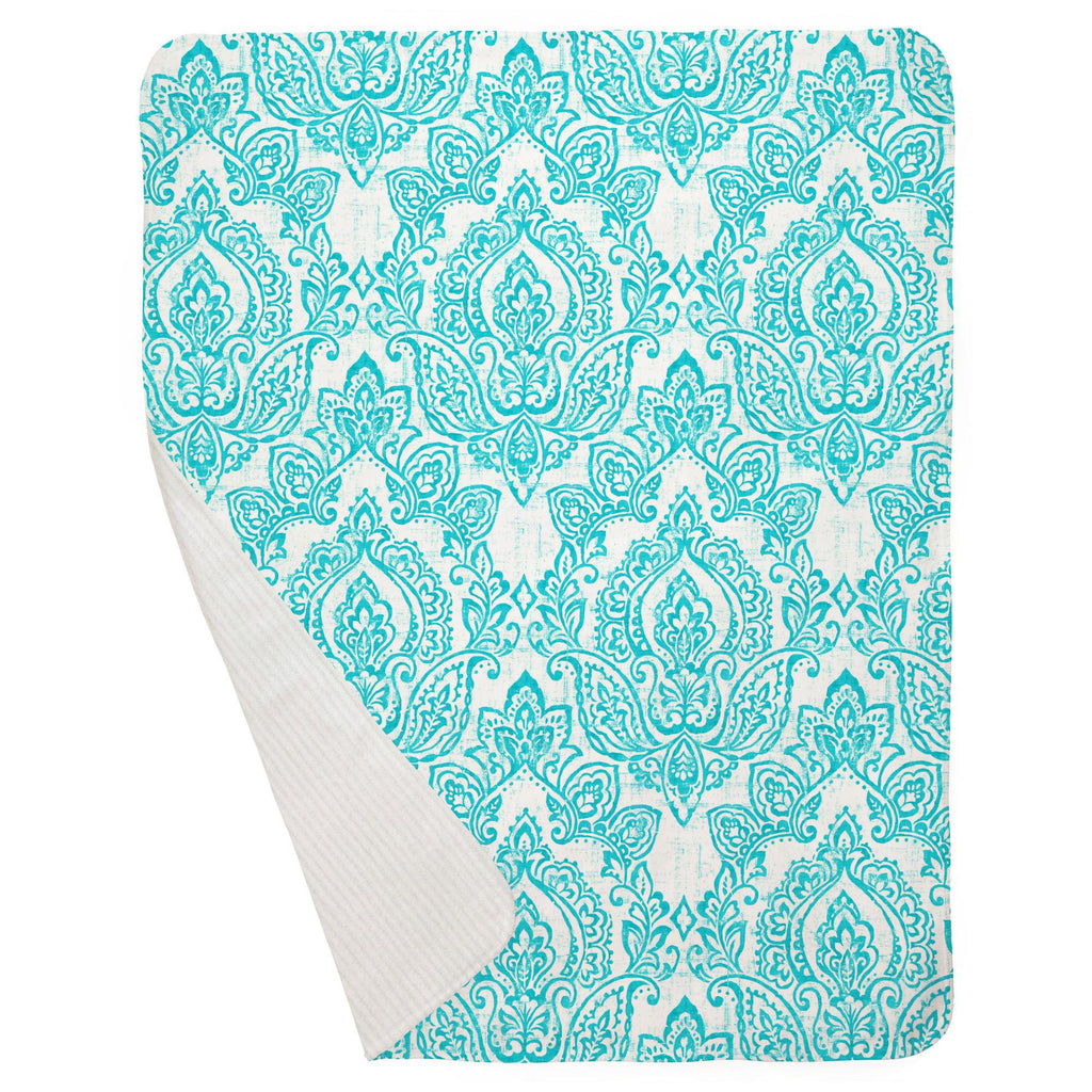 Product image for White and Teal Vintage Damask Baby Blanket
