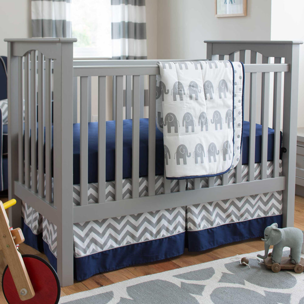 Product image for Navy and Gray Elephants Crib Comforter with Piping