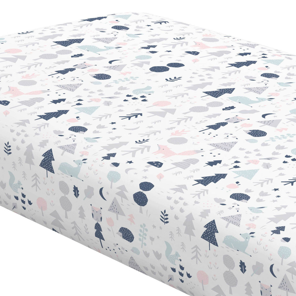 Product image for Gray and Pink Baby Woodland Crib Sheet