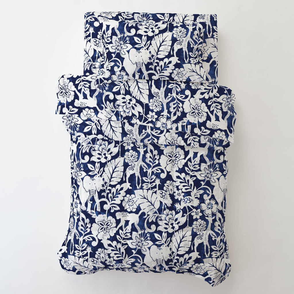 Product image for Navy and White Jungle Toddler Pillow Case