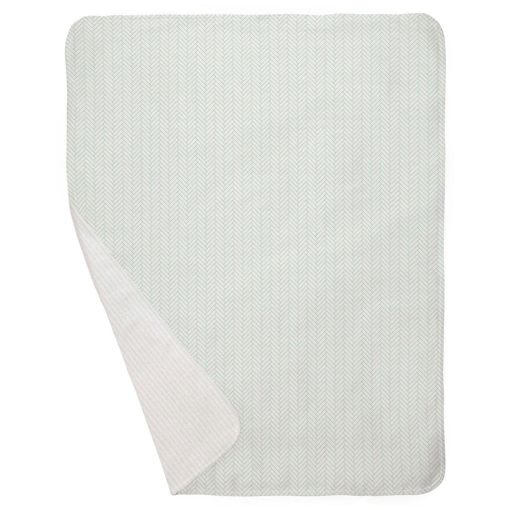 Product image for White and Mint Classic Herringbone Baby Blanket