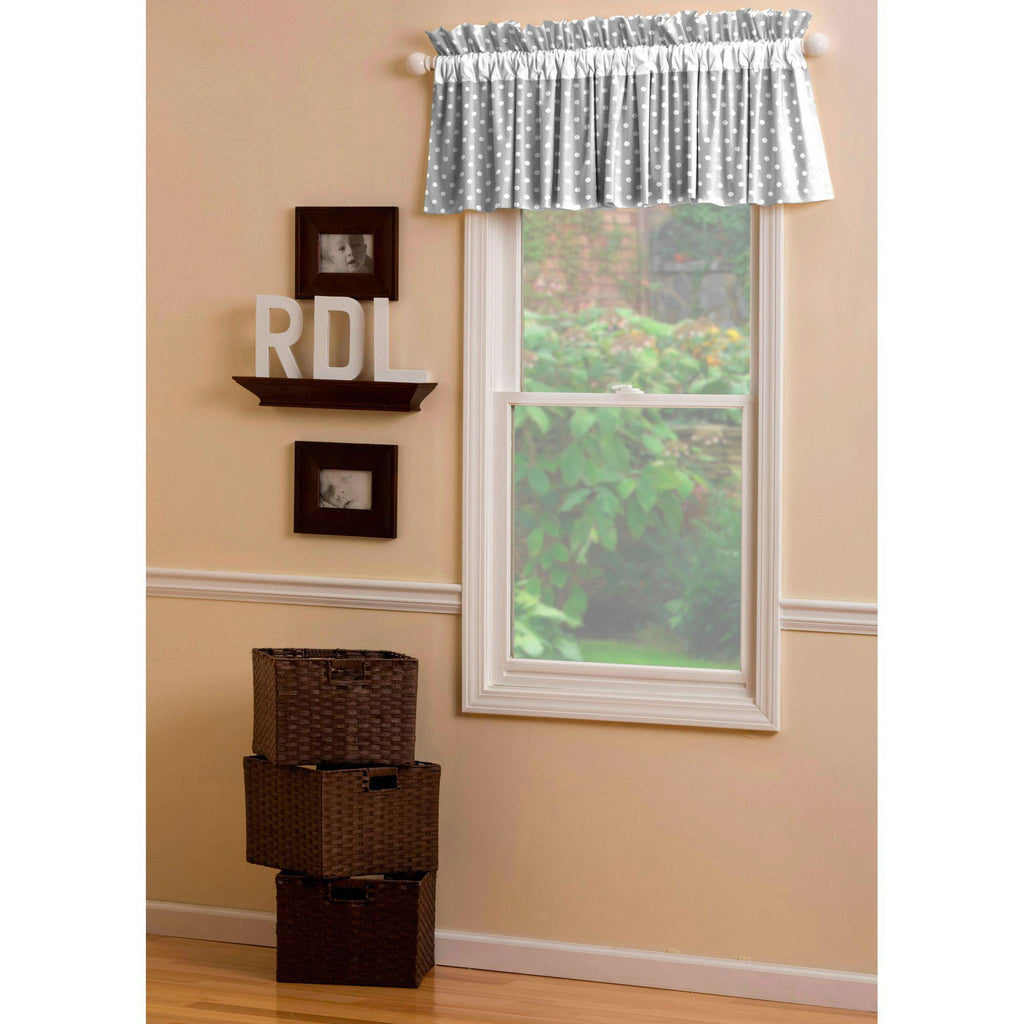 Product image for Gray and White Polka Dot Window Valance