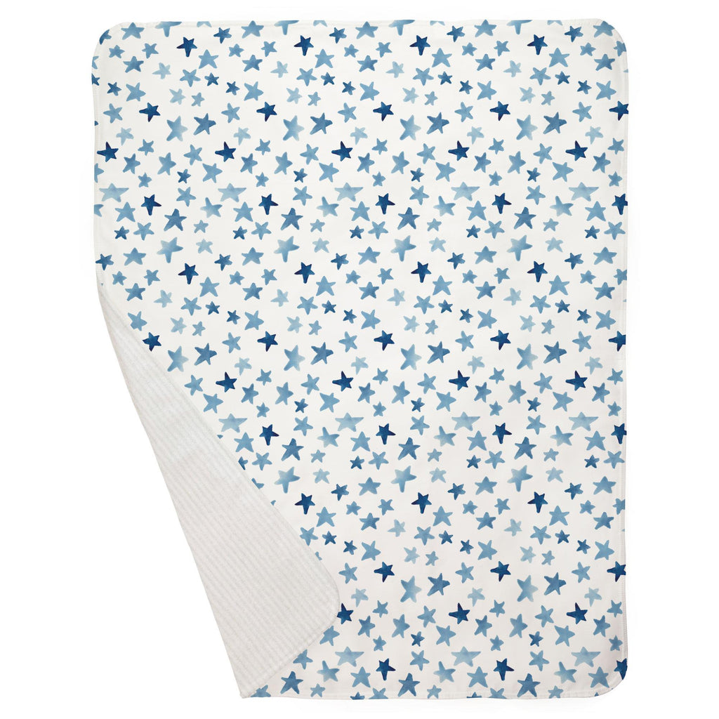 Product image for Blue Watercolor Stars Baby Blanket