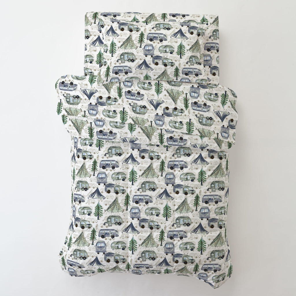 Product image for Navy and Seafoam Gone Camping Toddler Sheet Bottom Fitted