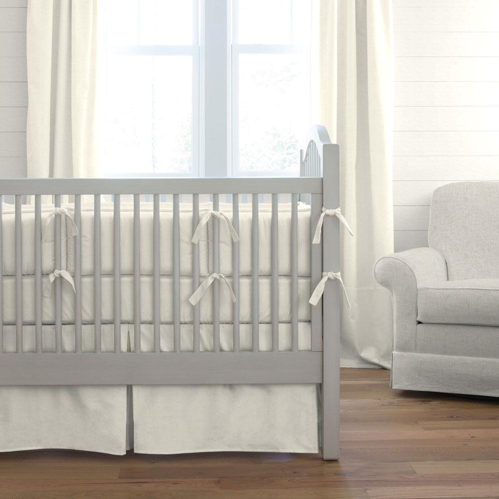 Product image for Solid Ivory Crib Comforter with Piping