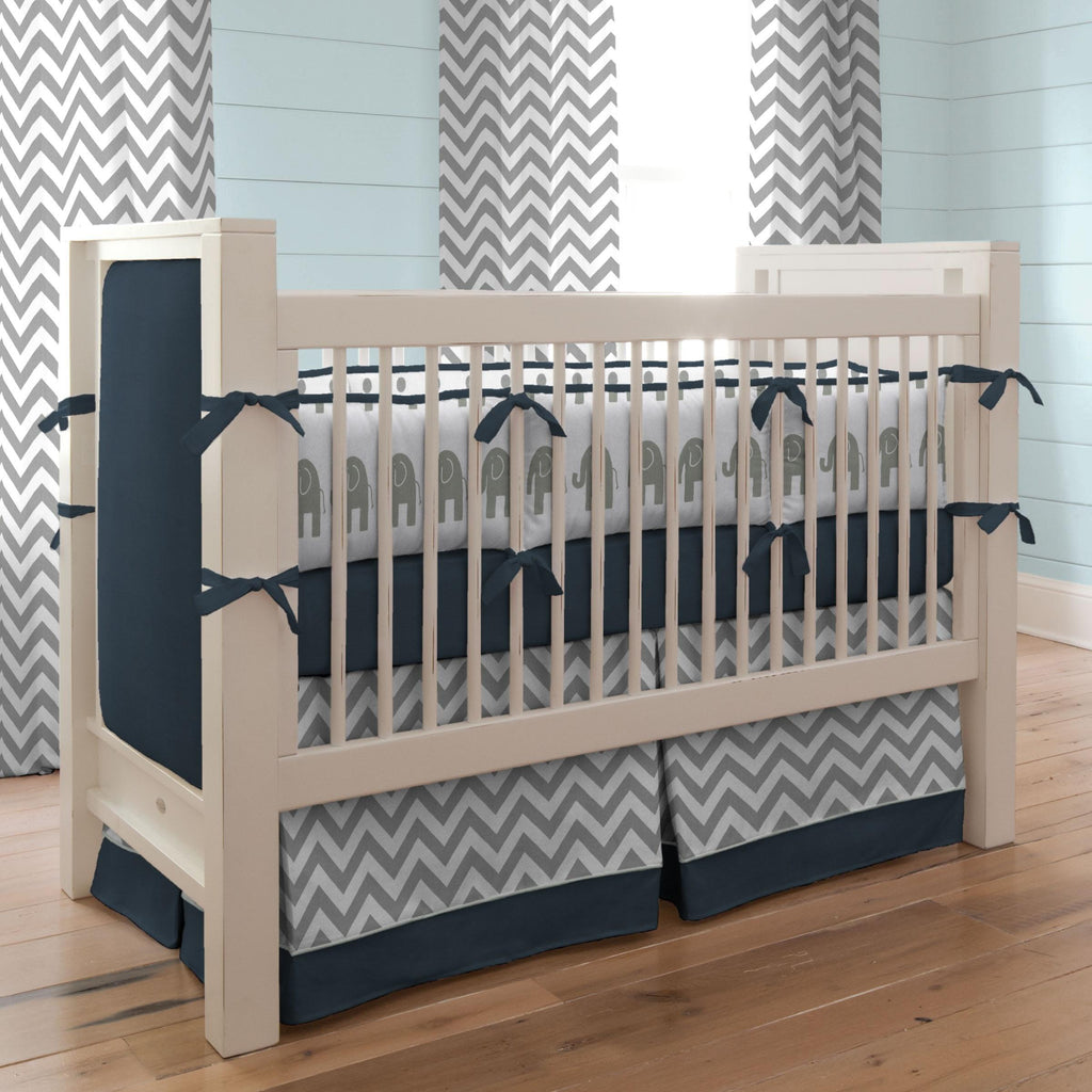 Product image for Navy and Gray Elephants Crib Bumper