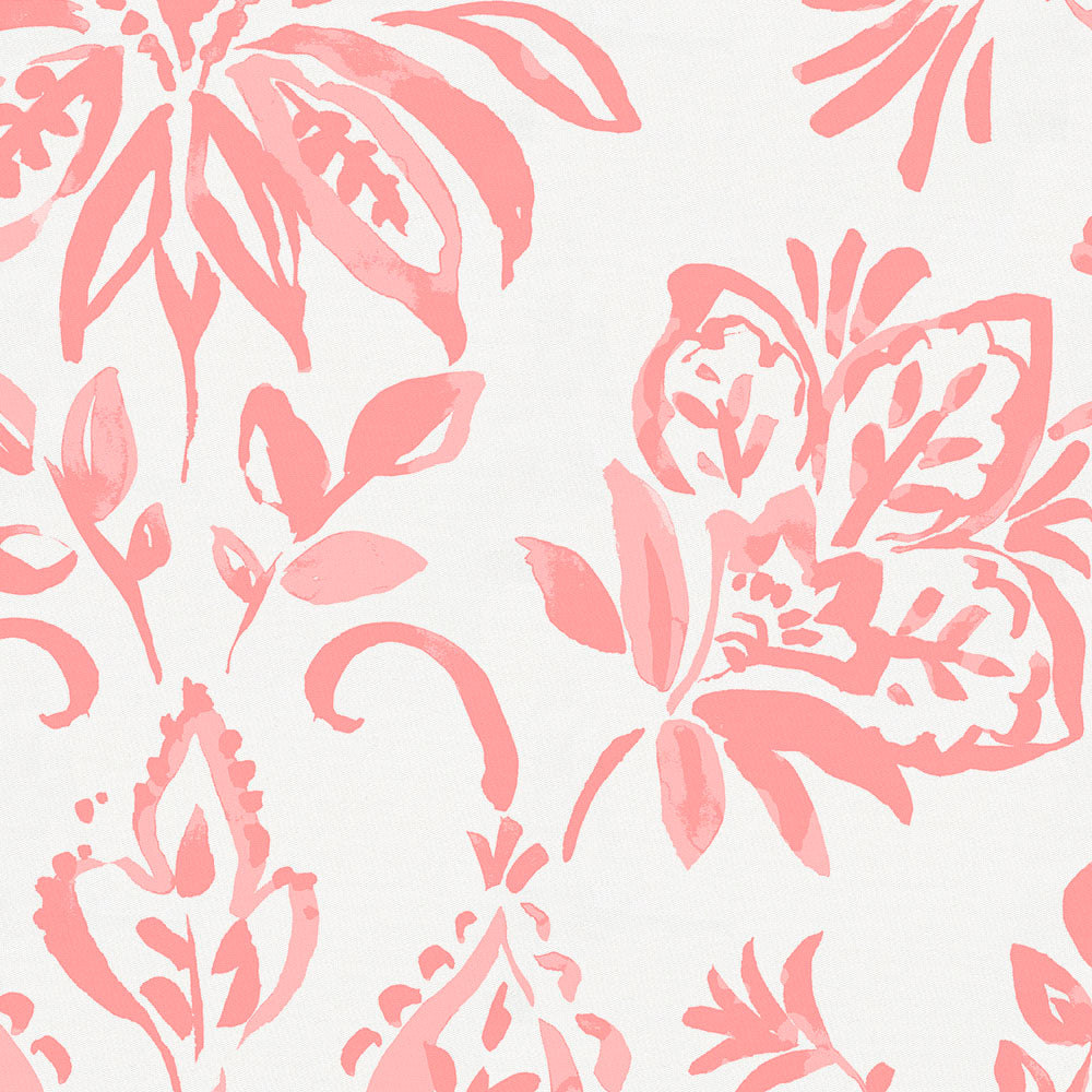 Product image for Coral Pink Coastal Damask Crib Skirt Gathered