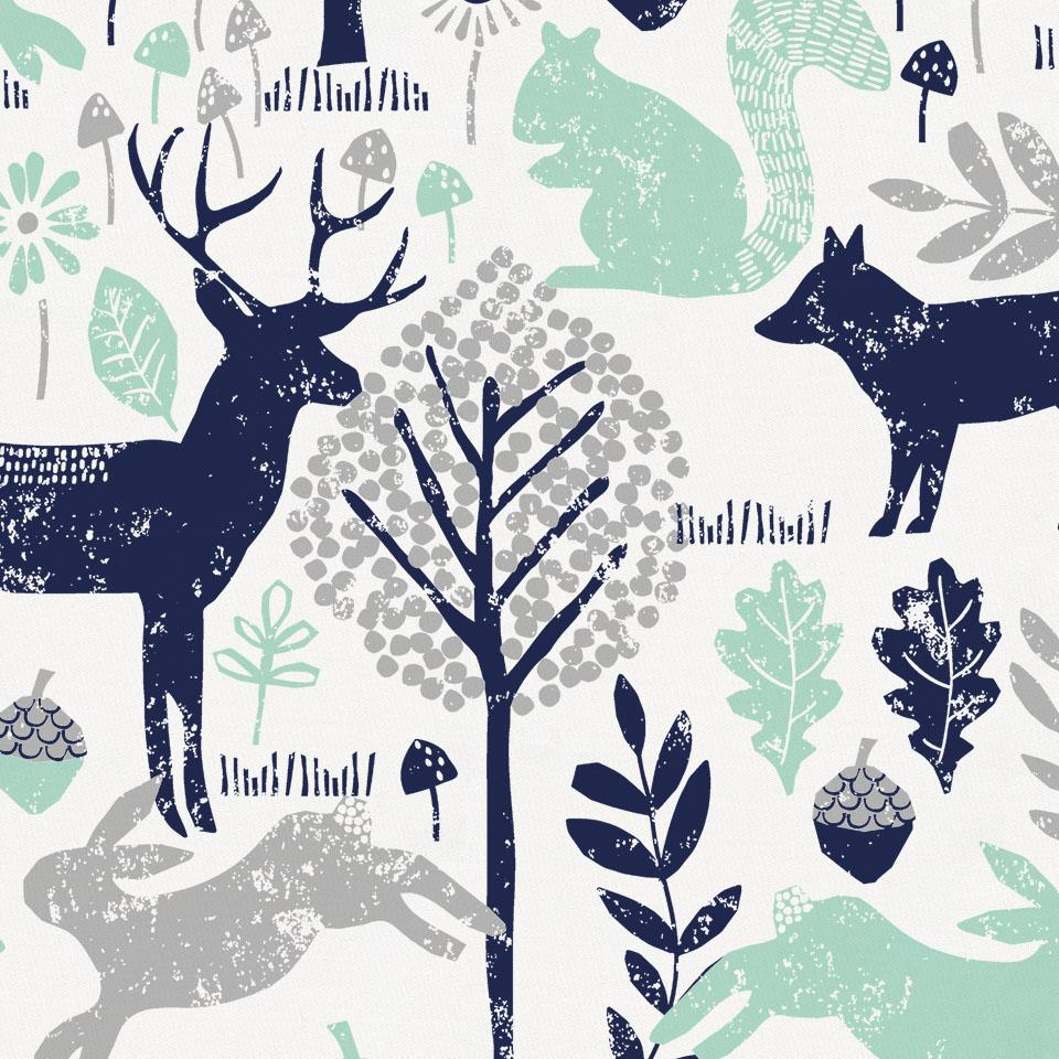 Product image for Navy and Mint Woodland Animals Mini Crib Bumper