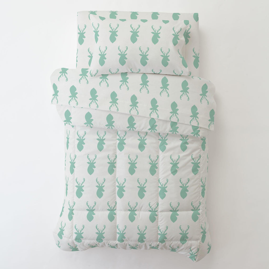 Product image for Mint Deer Head Toddler Sheet Bottom Fitted