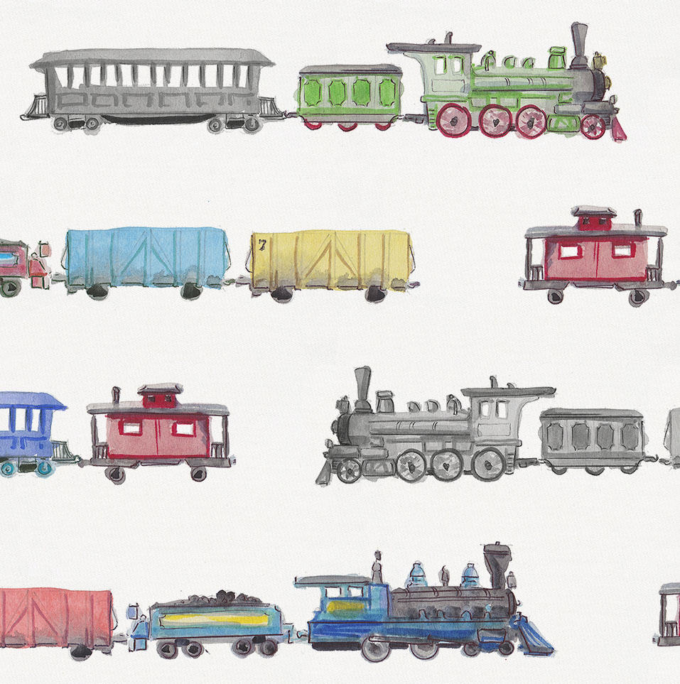 Product image for Watercolor Trains Duvet Cover
