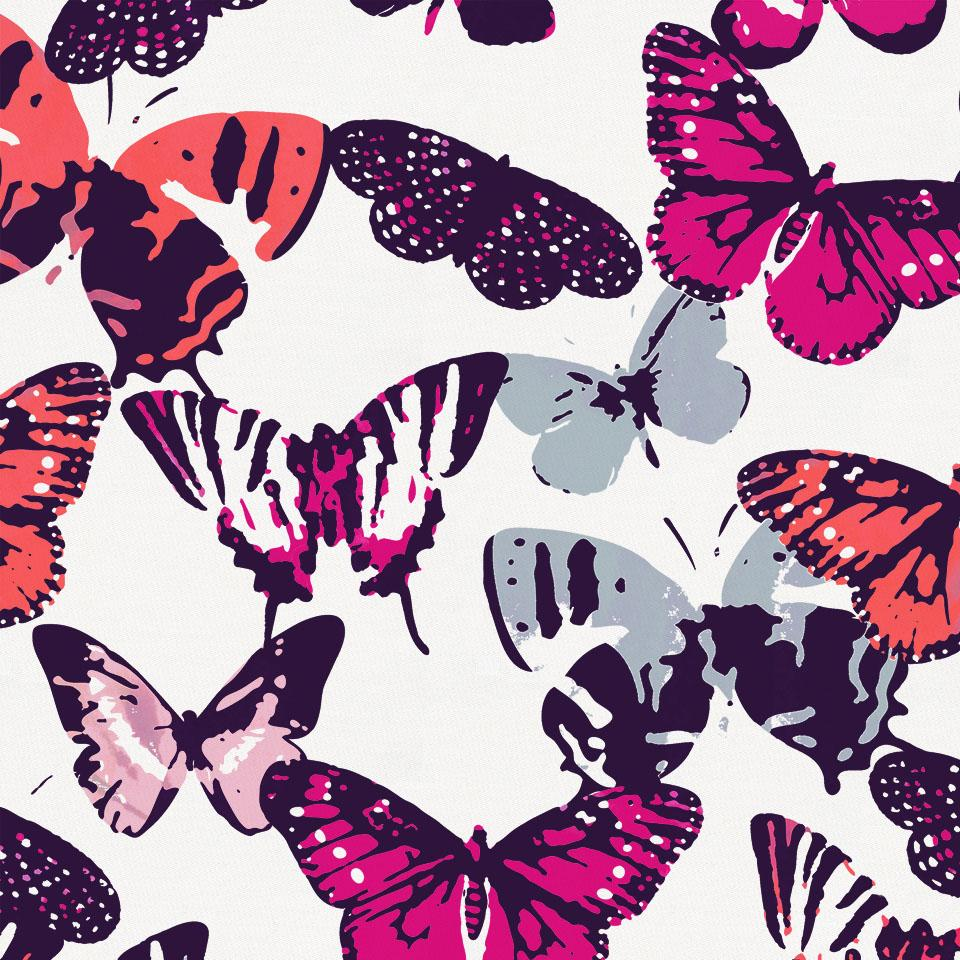 Product image for Fuchsia Modern Butterflies Baby Blanket