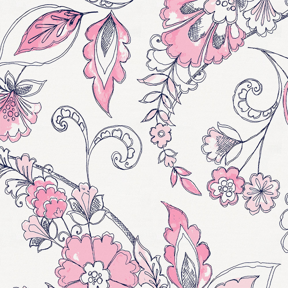 Product image for Pink and Navy Sketchbook Floral Crib Skirt Gathered