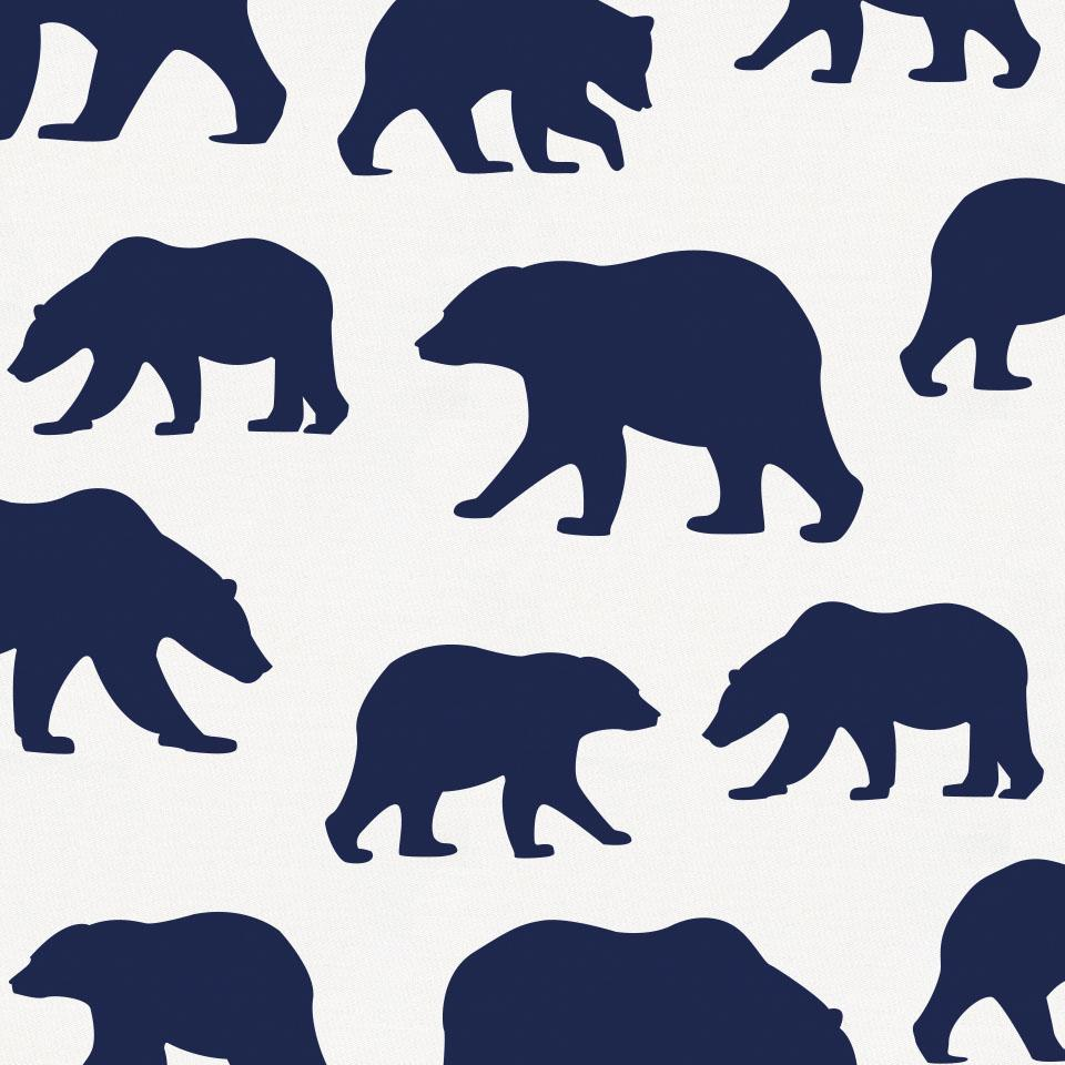 Product image for Navy Bears Crib Skirt Gathered