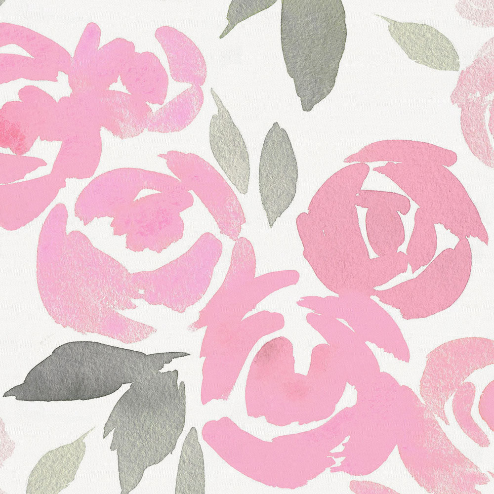 Product image for Pink and Gray Watercolor Roses Toddler Comforter