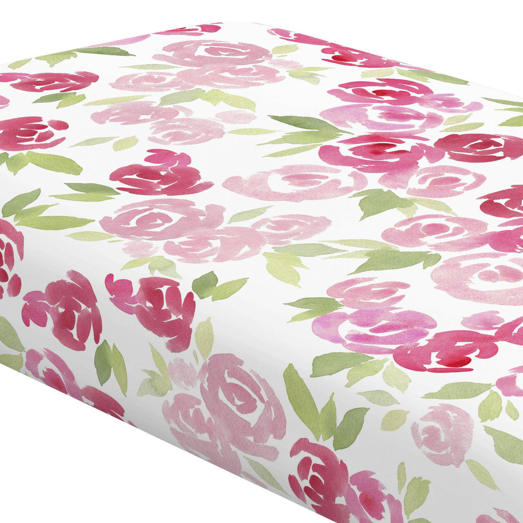Product image for Watercolor Roses Crib Sheet
