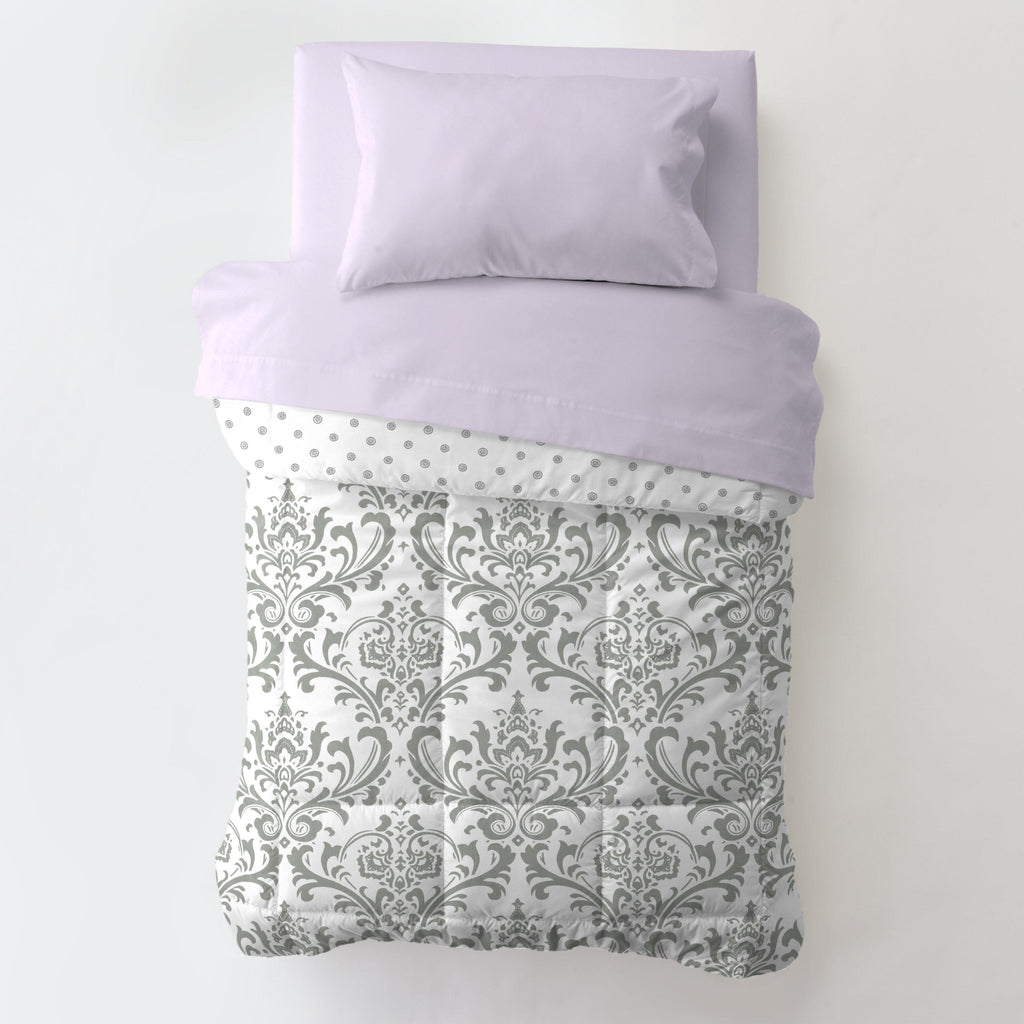 Product image for Pink and Gray Traditions Damask Toddler Comforter